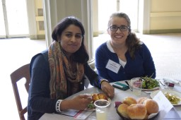 Shilpa and Caitlin, two undergraduates, enjoying lunch.