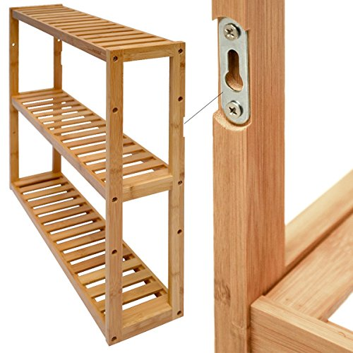 dunedesign Wandregal 54x60x15cm Bambus Bad-Regal 3 Fächer Holz Ablage Badezimmer Hängeregal
