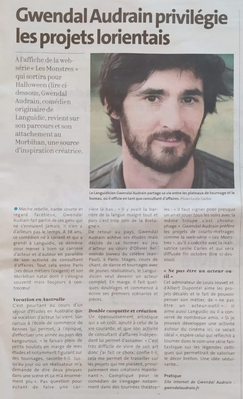 Portrait Gwendal - Article Ouest-France 2020