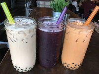 """The restaurant offers a colorful array of herbal and fruit teas, all filled with the scrumptious tapioca balls known as """"bubbles"""" or """"boba."""""""