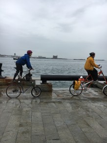 These bikers caught the end of the King Tide around 12:30 on Tuesday afternoon. The tide peaked around noon both Tuesday, November 15 and Wednesday, November 16.
