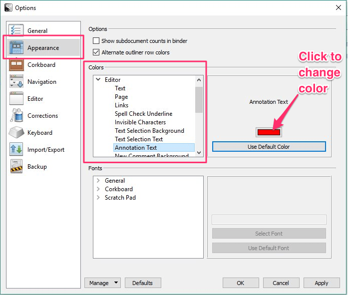 Options window, Appearance tab with Annotation text selected