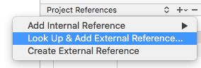 Add External Reference menu
