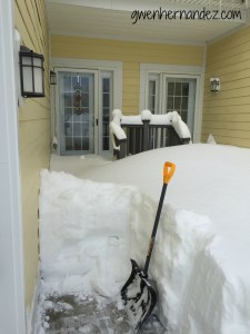 snowed in front door and shovel