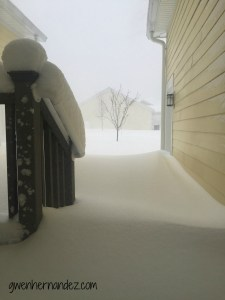 front porch covered in snow