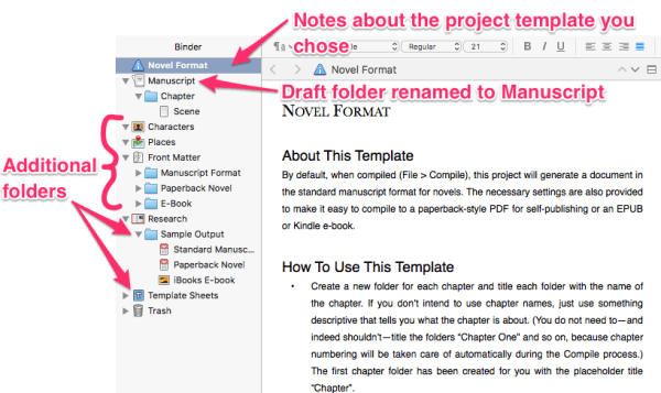 Scrivener project screen