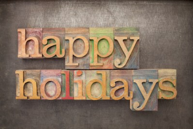 Happy holidays in letter press letters