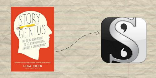 Story Genius book and Scrivener logo