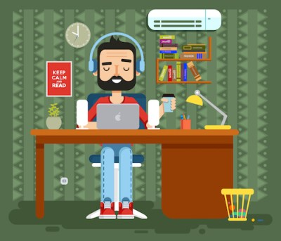 illustration of man at computer desk wearing headphones