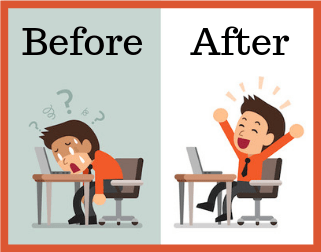"cartoon of confused man at computer labeled ""Before"" and happy man at computer labeled ""After"""