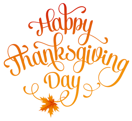 Happy Thanksgiving Day in orange and red script with a fall leaf at the bottom