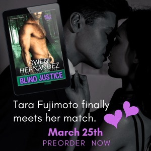 book cover on iPad with kissing couple in background. Text: Tara Fujimoto finally meets her match. March 25th. Preorder now.