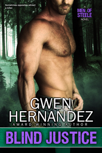 Blind Justice cover art: shirtless man in front of eerie forest with Gwen Hernandez and Blind Justice written on it.