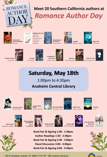 "Romance Author Day poster with 20 book covers on a pink background and text: ""Romance Author Day, Saturday, May 18th, 1pm to 4:30pm, Anaheim Central Library."