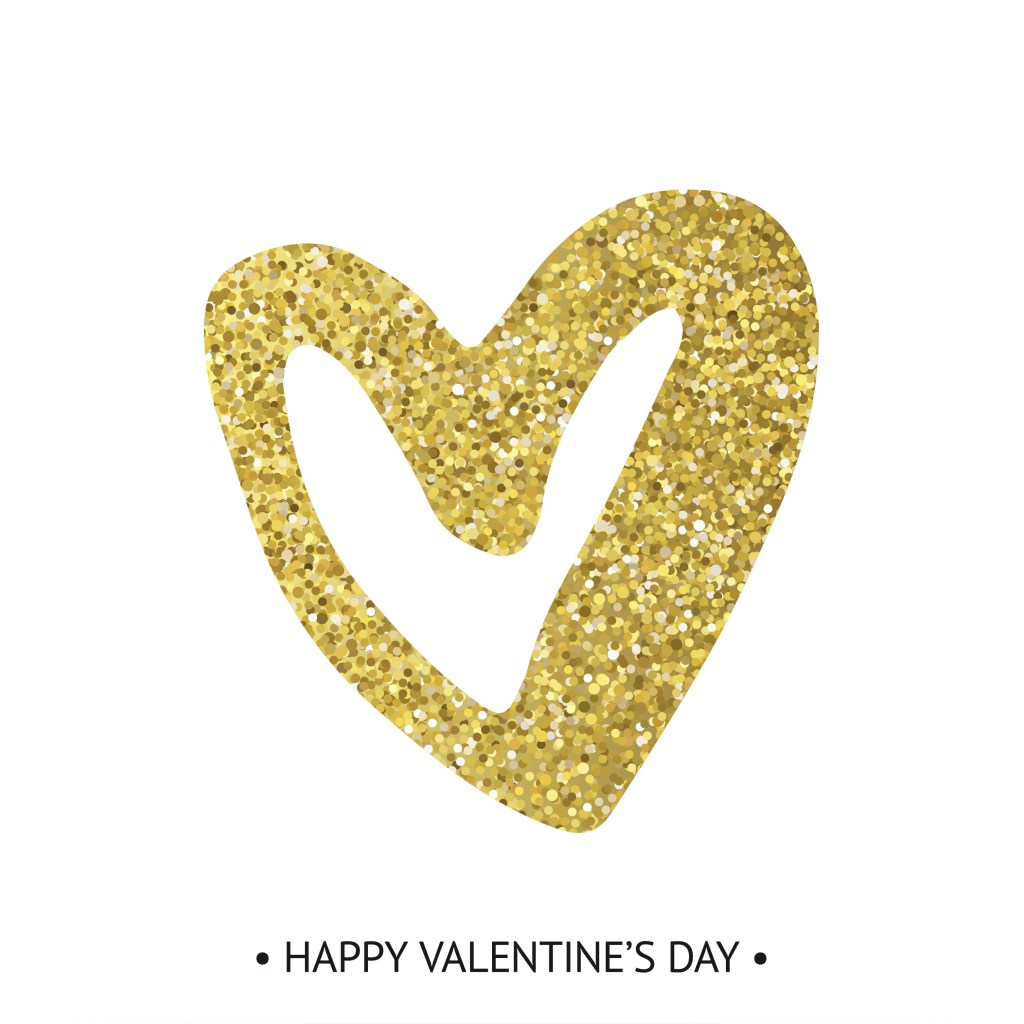"glittery gold heart and ""Happy Valentine's Day"" written beneath"
