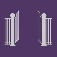 Gate on purple