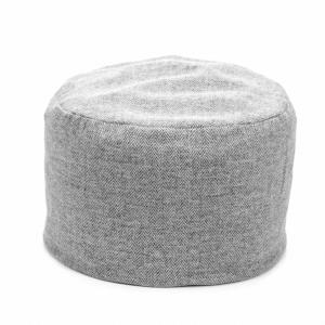 Tweed Pouf Herringbone Silver Grey