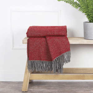 Anna Pure Wool Throw – Claret Red & Grey