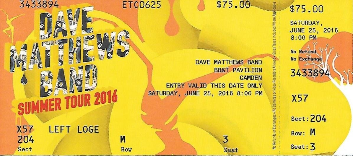 DMB 2016 ticket stub