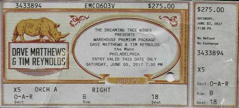 Dave & Tim Ticket 2017