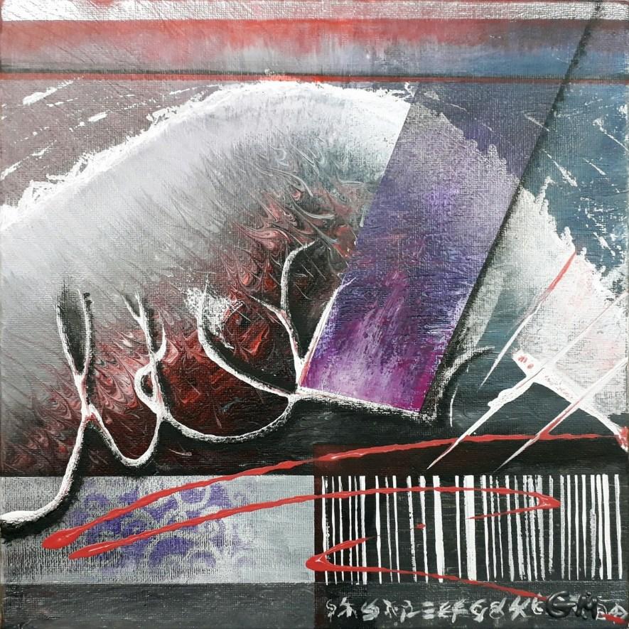 "#50 ""Low Boat In"" Acrylique sur toile, 30x30"