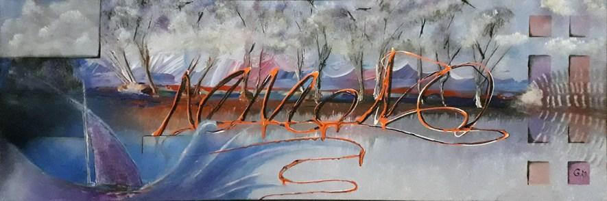 """#57 """"Nemono"""" Acrylique sur toile, 30x120"""