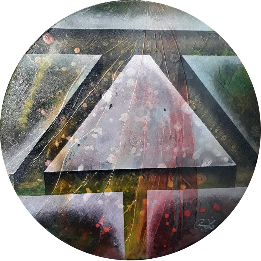 """#71 """"Sceau"""" Acrylique sur vinyle, 78 tours"""