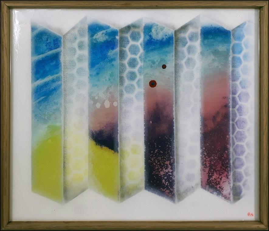 """#135 """"Derrière les paravents"""" Acrylique sur panneau de chêne, 36.5x42.5 cm"""