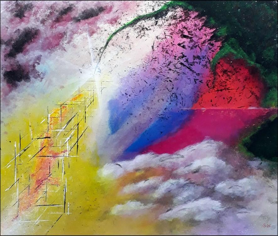 """#145 """"Iniquité"""" Acrylique sur bois, 45 x 53 cm"""