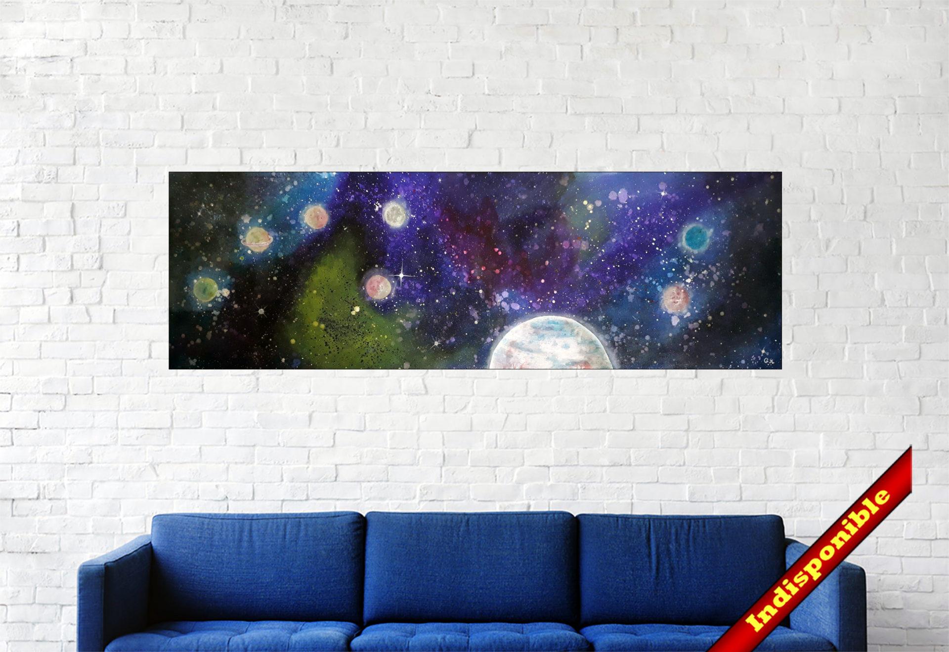 """#148 """"Exos"""" Acrylique sur toile & LEDs, 45 x 140 cm"""