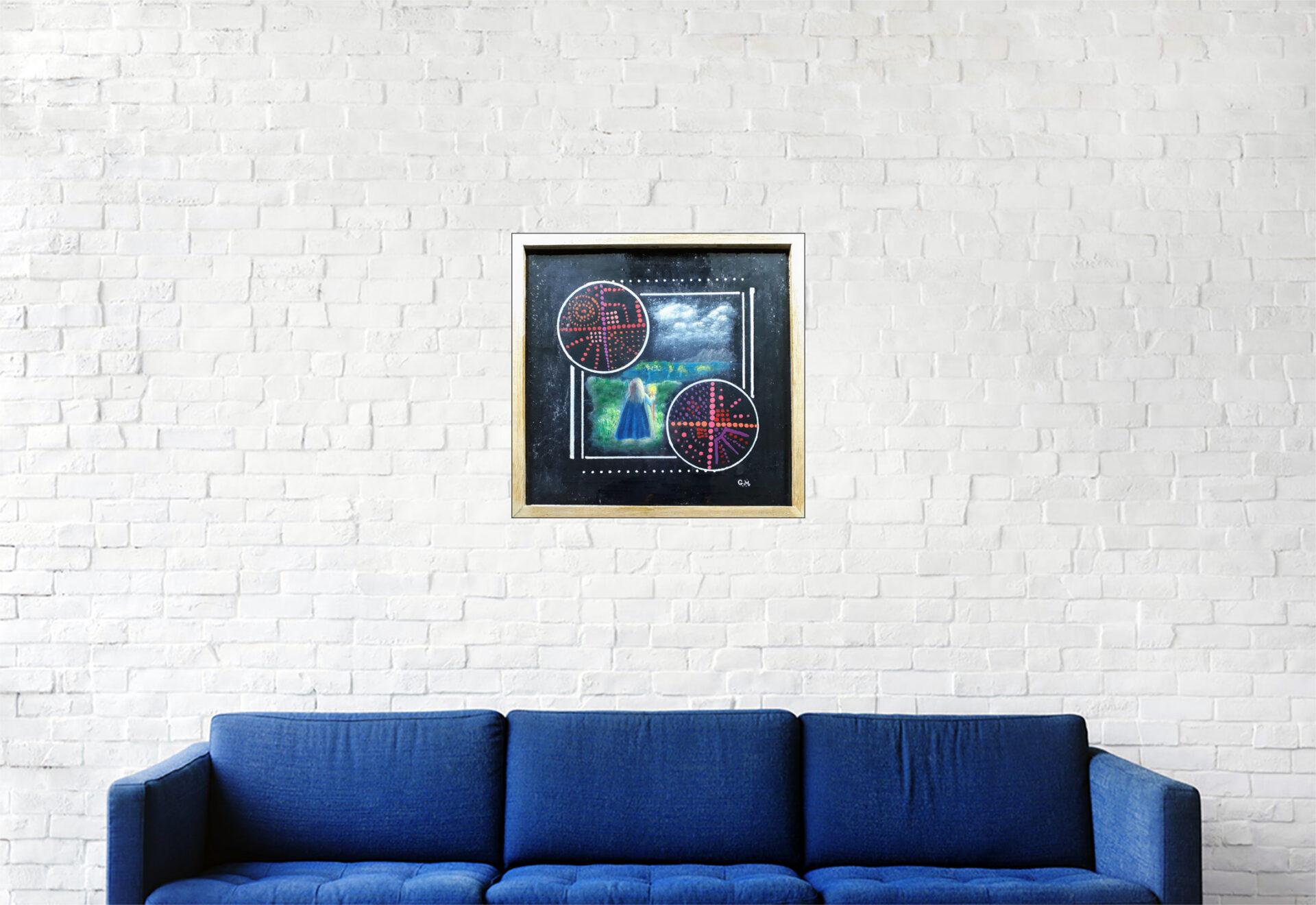 """#156 """"Evasion nocturne"""" Acrylique sur carton toile, vernissage resine epoxy, 32 x 33 cm"""