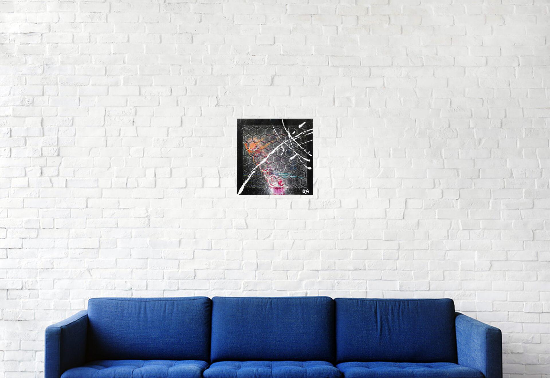"#158 ""Sleeping Satellite"" Acrylique sur carton toilé, 20 x 20 cm"
