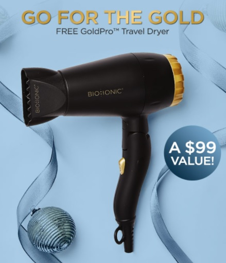 bioionic travel hair dryer gift with purchase