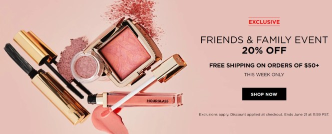hourglass cosmetics friends and family sale