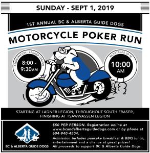 BC and AB Guide Dogs Poker Run - Sept 1, 2019 @ Ladner Legion | Delta | British Columbia | Canada