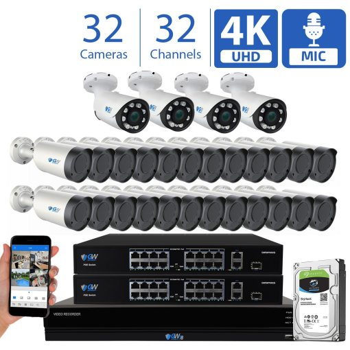 GW Security 32 Channel 8MP (3840×2160) H.265+ IP PoE AI Smart Security Camera System, 4K NVR with 28 × UHD 4K 2.8-12mm Varifocal Zoom 8.0 Megapixel Bullet Camera & 4 x 12MP IP PoE Motorized Bullet Security Camera, Human Detection, Video Surveillance System for 24/7 Recording