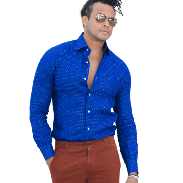 White and Blue Spotted Sport Shirt