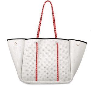 White and Coral Neoprene Tote product shot front view