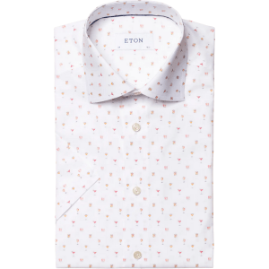 White Cocktail Print Shirt product shot front view