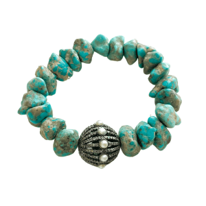 Turquoise Bracelet with Round Pearl Pendant
