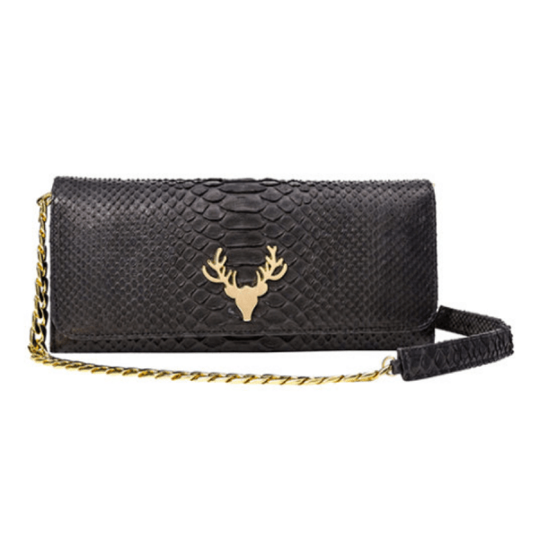 Harper Clutch in Black product shot front view with chain