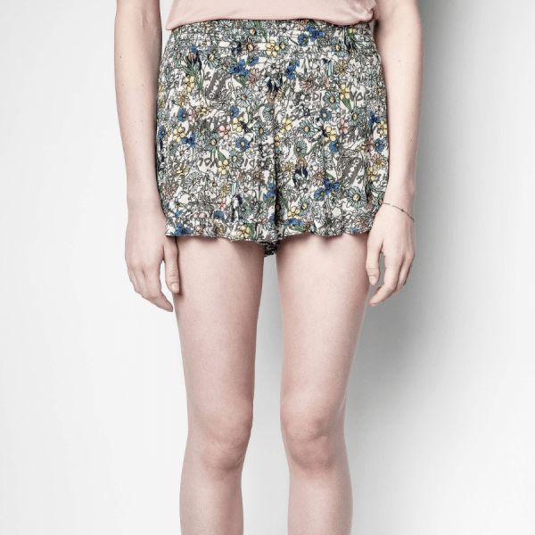 Sophie Crinkle Shorts product shit front view on model