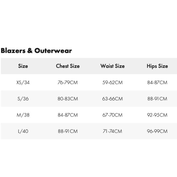 zadig blazer and outerwear size chart