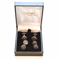 Black and Gold Cufflinks product shot in box