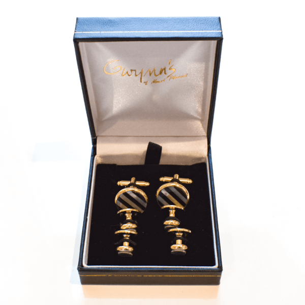 Striped Cufflinks and Studs product shot in box