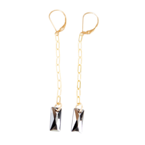 Long Black Rectangle Earrings product shot front view
