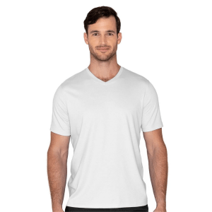 Model Wearing The Noah V-Neck in White product shot front view
