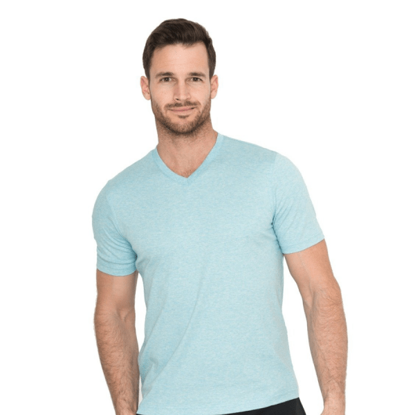 Model Wearing The Noah V-Neck in Aqua product shot front view
