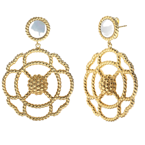 Grande Capucine Earrings, Mother of Pearl product shot front view