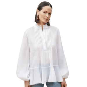 Model Wearing Lafayette 148 Raines Blouse in White front view